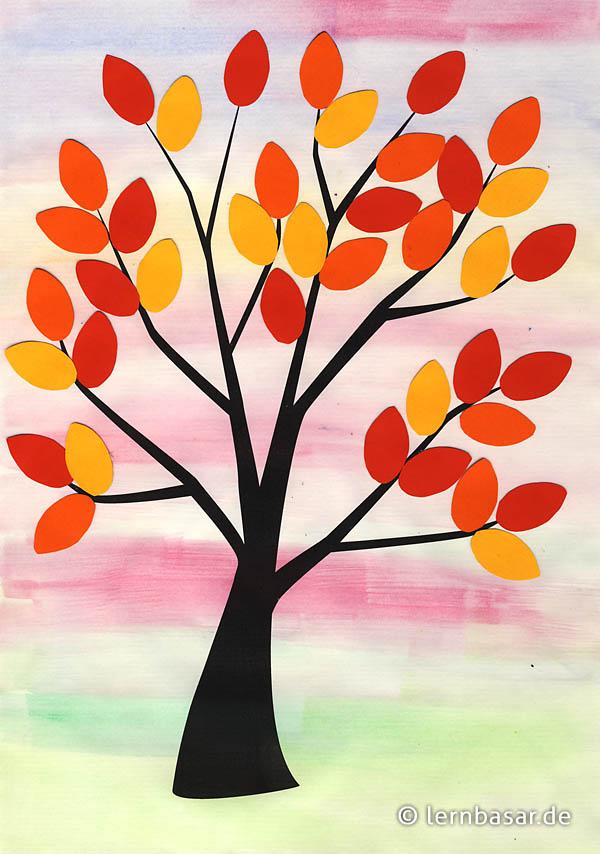 Bunte Herbstbaume Aus Tonpapier Das Macht Spass Und Sieht Gut Aus