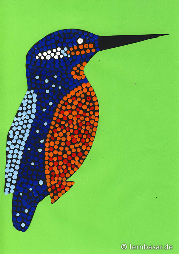 Eisvogel mit Dot-Painting