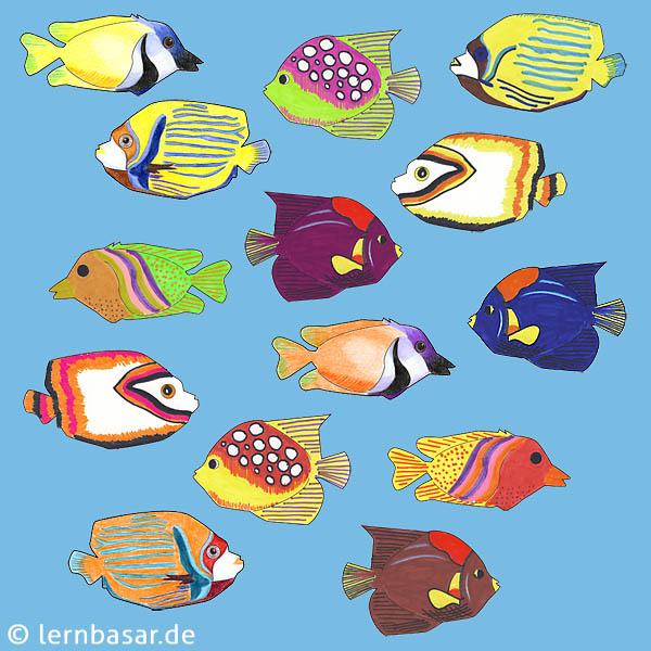 Exotische Fische Mit Buntstiften Malen Und Das Klassenzimmer