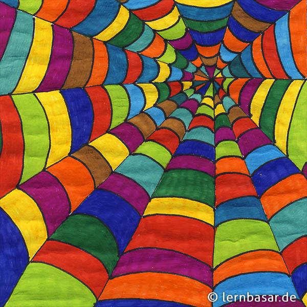 Farbiges Spinnennetz Startpunkt De