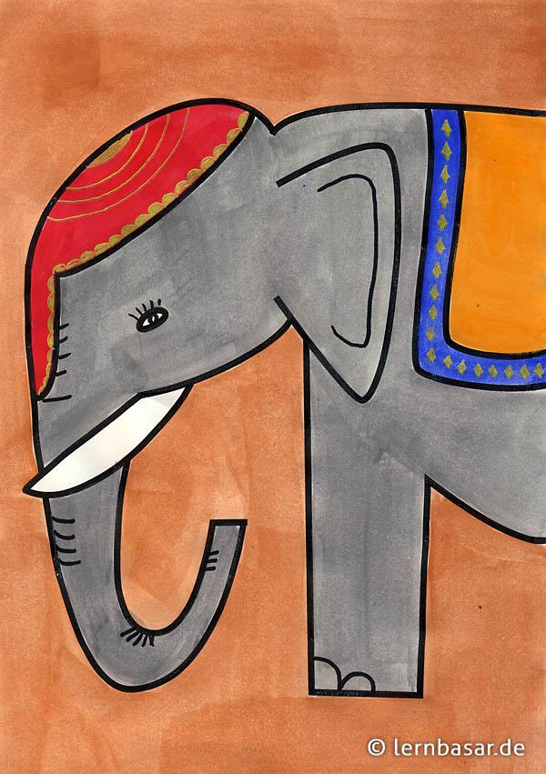 Ein Elefant Vollstandig Von Den Kindern Alleine Gezeichnet