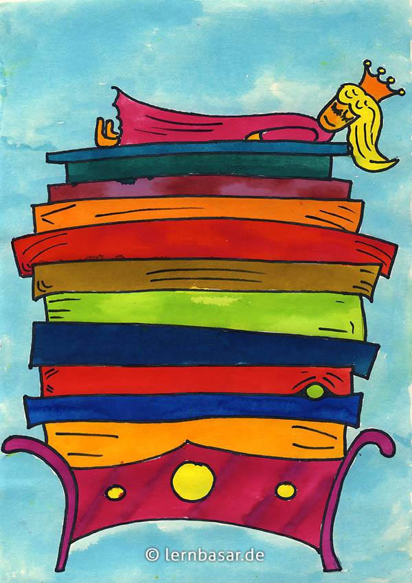 Prinzessin auf der erbse bett  Prinzessin auf der Erbse - Mit Wasserfarben selbst malen ...