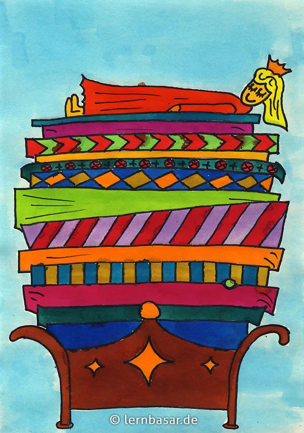 Prinzessin auf der erbse basteln  Prinzessin auf der Erbse - Mit Wasserfarben selbst malen - Startpunkt DE