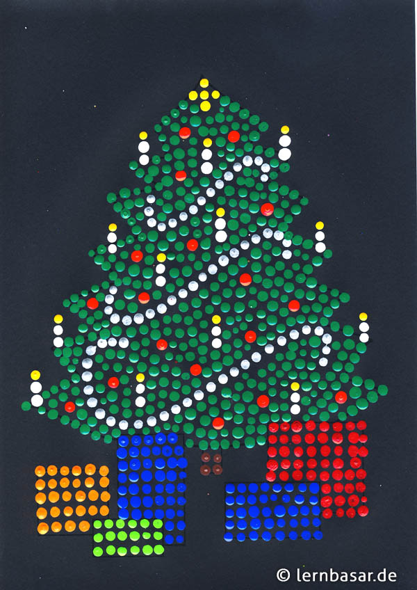 Christbaum mit Dot-Painting