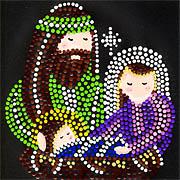 Maria Josef und Jesuskind - Dotpainting