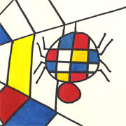Spinnennetz a la Piet Mondrian